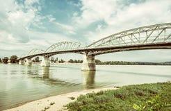 Maria Valeria-brug van Esztergom, oude filter royalty-vrije stock fotografie