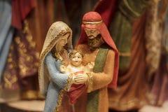 Maria y José con el bebé Jesús imagen de archivo