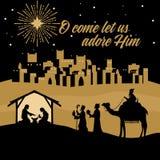 Maria y José con el bebé Jesús Escena de la natividad cerca de la ciudad de Belén Los hombres sabios van a adorar a Cristo libre illustration