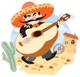 Mariachi - мексиканский музыкант с гитарой иллюстрация штока