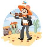 Mariachi - мексиканский музыкант с скрипкой иллюстрация вектора