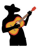 Mariachi. A silhouette of a man playing a guitar, most likely a mariachi due to the sombrero and spanish-looking guitar Stock Photo