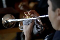 Mariachi. Closeup of musician playing trumpet at Mexican mariachi band stock photo