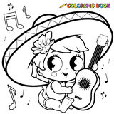 Mariachi baby girl playing the guitar coloring page Royalty Free Stock Photography