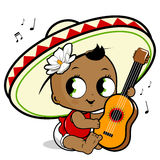Mariachi baby girl playing the guitar Royalty Free Stock Photography