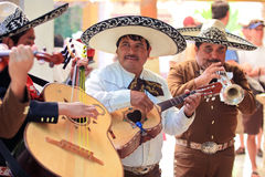 Mariachi band in Mexico. Mariachi musicians playing mexican guitar and trumpet Stock Images