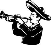 Mariachi cartoon playing trumpet Royalty Free Stock Photo