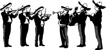 Mariachi cartoon playing trumpet. A black and white drawing of a mariachi band Stock Photo
