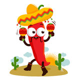 Mariachi chili pepper with maracas Stock Photo