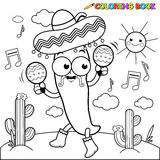 Mariachi chilli pepper with maracas coloring page. Vector black and white Illustration of a mariachi chili pepper playing music with maracas and dancing in the Stock Images