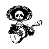 Mariachi guitar player. For Day of the Dead Royalty Free Stock Photo