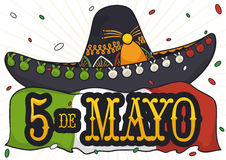 Mariachi Hat, Flag and Confetti Shower for Cinco de Mayo, Vector Illustration Stock Photos