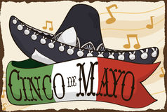 Mariachi Hat and Mexican Flag for Cinco de Mayo Celebration, Vector Illustration. Poster with traditional charro or mariachi hat and ribbon with the colors of