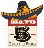 Mariachi Hat over Reminder Date for Cinco de Mayo Celebration, Vector Illustration. Poster with old loose-leaf calendar with reminder date for Cinco de Mayo Stock Photo