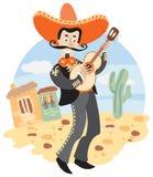 Mariachi - Mexicaanse musicus met gitaar royalty-vrije illustratie