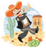 Mariachi - musicien mexicain avec la trompette illustration libre de droits
