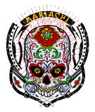 Mariachi skull Stock Images
