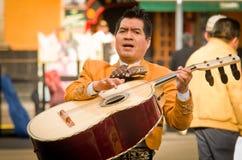 Mariachi versehen Spielmexikanermusik mit einem Band stockfotos