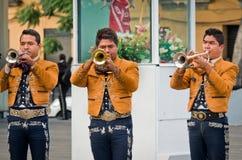 Mariachi versehen Spielmexikanermusik mit einem Band lizenzfreie stockfotos