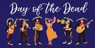 Mariachimusici van La Catrina en van Gr Dag van de dode of Halloween geïsoleerde vectorillustratie stock illustratie