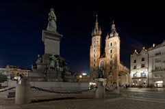 Mariack Church at night in Krakow, Poland Stock Photos