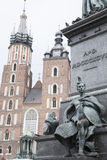 Mariacka Basilica Church with Adam Mickiewicz Monument, Krakow Royalty Free Stock Photos