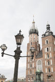 Mariacka Basilica Church with Lamppost; Krakow Royalty Free Stock Photo