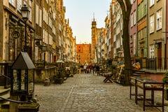 Den berömda gatan av Gdansk Royaltyfri Fotografi