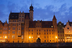 Mariacka Gate at night in Old Town of Gdansk Royalty Free Stock Images