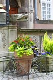 Mariacka street, decorative stoop with stone stairs, Main city, Gdans, Poland. Mariacka street, typical decorative stoop with stone stairs, front of colorful Royalty Free Stock Photo