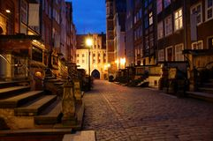 Mariacka street Gdansk. Mariacka street by night in Gdansk/Poland Royalty Free Stock Photography