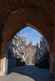 Mariacka Street in Gdansk. A view through the gate into the street Mariacka in Gdansk, Poland Stock Images