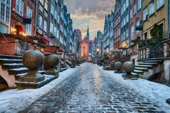 Mariacka street in Gdansk, beautiful winter view, no people royalty free stock photos