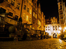 Mariacka street in Gdansk by night Royalty Free Stock Photos