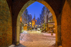 Mariacka street in Gdansk, Poland. Gate to the Mariacka street in Gdansk at snowy night, Poland Royalty Free Stock Photos