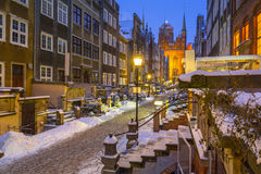 Mariacka street in Gdansk, Poland. Mariacka street in Gdansk at snowy winter, Poland Royalty Free Stock Photography