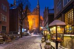 Mariacka street in Gdansk, Poland. Mariacka street in Gdansk at snowy winter, Poland Royalty Free Stock Photos