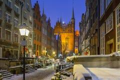 Mariacka street in Gdansk, Poland. Mariacka street in Gdansk at snowy winter, Poland Royalty Free Stock Photo