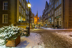Mariacka street in Gdansk, Poland. Mariacka street in Gdansk at snowy winter, Poland Stock Images