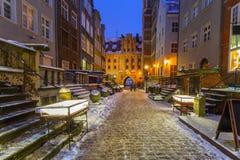 Mariacka street in Gdansk, Poland. Mariacka street in Gdansk at snowy winter, Poland Stock Photo