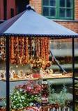 Mariacka Street in Gdansk, Poland. Poland, Pomeranian Voivodeship, Gdansk, Old Town, Amber Jewellery display on Mariacka Street Royalty Free Stock Photos