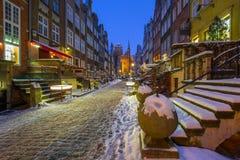 Mariacka street in Gdansk, Poland. Mariacka street in Gdansk at snowy winter, Poland Royalty Free Stock Image