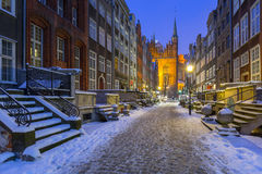 Mariacka street in Gdansk, Poland. Mariacka street in Gdansk at snowy winter, Poland Royalty Free Stock Images