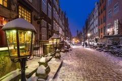 Mariacka street in Gdansk, Poland. Mariacka street in Gdansk at snowy winter, Poland Stock Photos