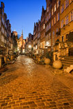 Mariacka Street at Night in Gdansk. Mariacka Street at night in city of Gdansk in Poland, Old Town, historic burgher houses with perrons Stock Photos