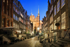 Mariacka Street at Night in Gdansk Royalty Free Stock Photography