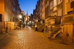 Mariacka Street by Night in Gdansk Royalty Free Stock Images