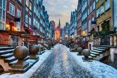 Mariacka ulica Gdański, nocy zimy widok, Polska obraz royalty free