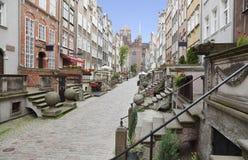 Mariackastraat in Gdansk, Polen stock afbeelding