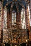 Mariacki-Altar in Krakau Stockfotos